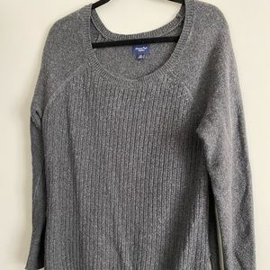 Oversized grey ribbed front sweater with zippers